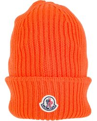 Moncler Logo Patched Ribbed Beanie - Orange