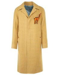 Gucci Checked Long-line Coat - Yellow