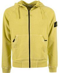 Stone Island Logo Patch Zipped Hoodie - Yellow