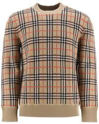 Burberry Check Jacquard Sweater - Natural