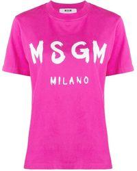 MSGM Logo Printed Crewneck T-shirt - Pink