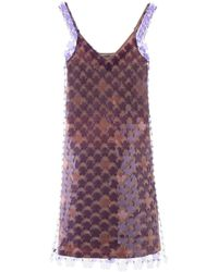 Paco Rabanne - Mini Dress With Flower Sequins - Lyst