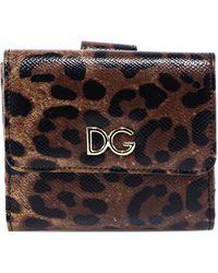 Dolce & Gabbana Leopard Print Small Flap Wallet - Brown