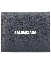 Balenciaga Logo Print Compact Wallet - Black