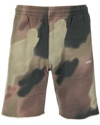 Off-White c/o Virgil Abloh Camouflage Print Sweat Shorts - Green