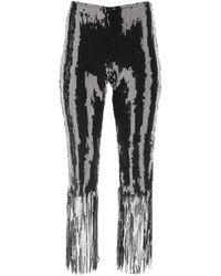L'Autre Chose Sequinned Fringe Hem Trousers - Metallic