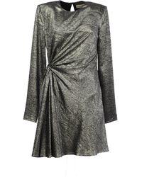 Saint Laurent Gathered Mini Dress - Grey