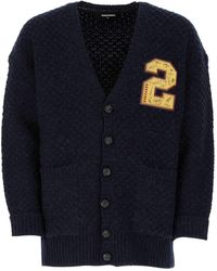 DSquared² Navy Wool Blend Oversize Cardigan Uomo - Blue