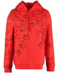McQ Flocked Swallow-print Cotton-jersey Hoody - Red