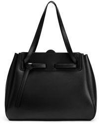 Loewe Lazo Knot Detail Logo Embossed Tote Bag - Black