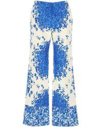 Valentino Printed Wool Blend Wide-leg Pant 40 - Blue