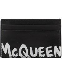 Alexander McQueen Leather Card Holder With Logo Print - Black