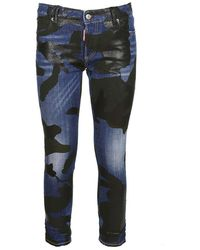 DSquared² - Camouflage Printed Slim Fit Jeans - Lyst