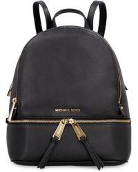 MICHAEL Michael Kors Rhea Leather Medium Backpack - Black