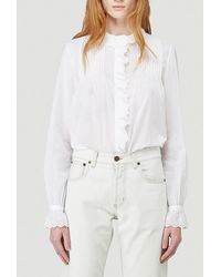 Saint Laurent Broderie Anglaise Frilled Blouse - White