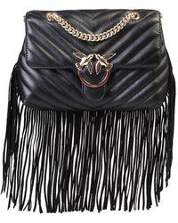 Pinko Love Fringed Crossbody Bag - Black