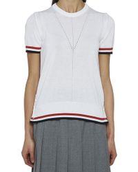 Thom Browne - Striped Hem T-shirt - Lyst