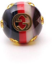 Gucci Vintage Style GG Logo Ring - Multicolour