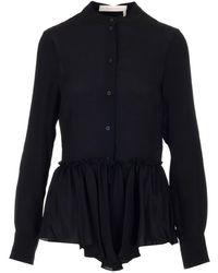 See By Chloé Basque Peplum Shirt - Black