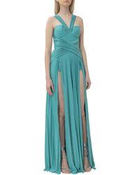 Elisabetta Franchi Shimmer Micro Pleated Maxi Dress - Blue