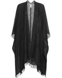 Brunello Cucinelli Sequins Cashmere And Silk Poncho - Black