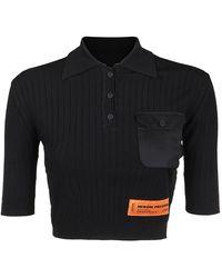 Heron Preston Satin Pocket Cropped Polo - Black