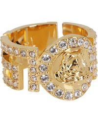 Versace Icon Medusa Crystal Ring - Metallic