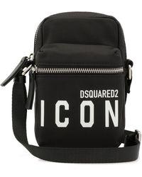 DSquared² Icon Print Zip-up Crossbody Bag - Black