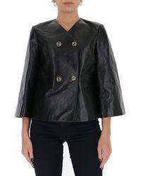 Gucci Interlocking G Button Leather Jacket - Black