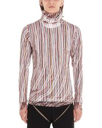 Y. Project Sheer Overlay Striped Turtleneck - Red