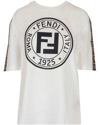 Fendi Logo Printed T-shirt - White