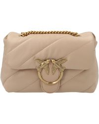 Pinko Love Mini Puff Quilted Shoulder Bag - Natural