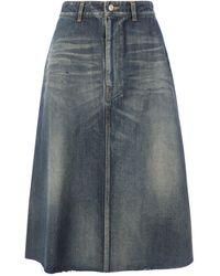 Balenciaga Front Kick A-line Skirt - Blue