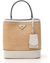 4655bd961745 Prada - Panier Logo Top Handle Bag - Lyst