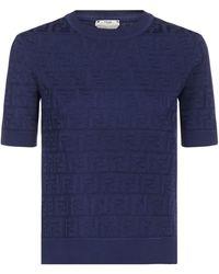 Fendi Jacquard Ff Knitted Top - Blue