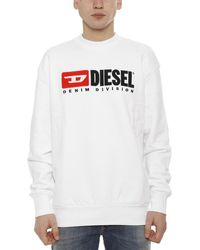 DIESEL Logo Print Round Neck Jumper - White