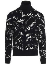Dolce & Gabbana All-over Logo Turtleneck - Black