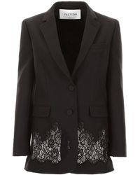 Valentino Jacket With Lace - Black
