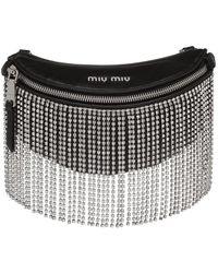 Miu Miu Crystal Fringed Belt Bag - Black