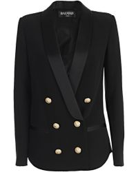 2507c8d0 Balmain - Double Breasted Satin Lapel Blazer - Lyst