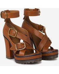 Chloé Daisy Strapped Platform Sandals - Brown