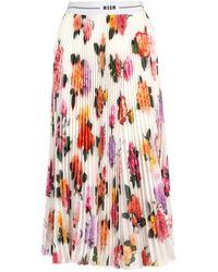 MSGM Pleated Midi Skirt - Multicolour