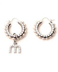 Miu Miu Asymmetric Hoop Earrings - Metallic