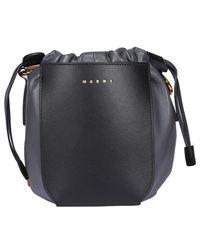 Marni Gusset Bucket Bag - Black