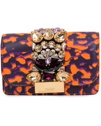 Gedebe Clicky Leopard Print Clutch Bag - Red