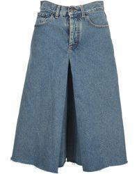 Maison Margiela High-rise Wide Leg Denim Culottes - Blue