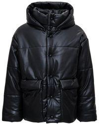 Nanushka Hooded Down Jacket In Vegan Leather - Black