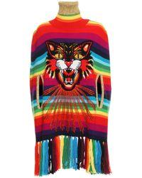 Gucci Rainbow Tiger Embroidered Poncho - Multicolour