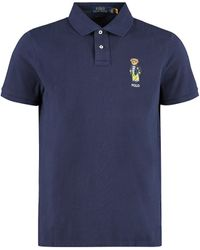 Polo Ralph Lauren Slim Fit Polo Shirt With Bear Embroidery S Cotton - Blue