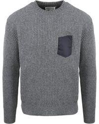 Maison Margiela Ribbed Chest Pocket Jumper - Grey